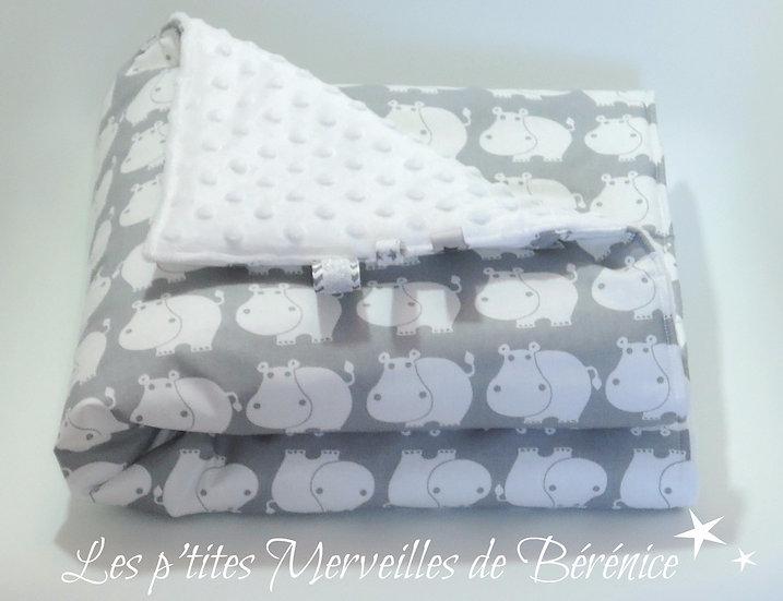 """Couverture bébé """"hippopotames"""" & pois gris & blanc"""
