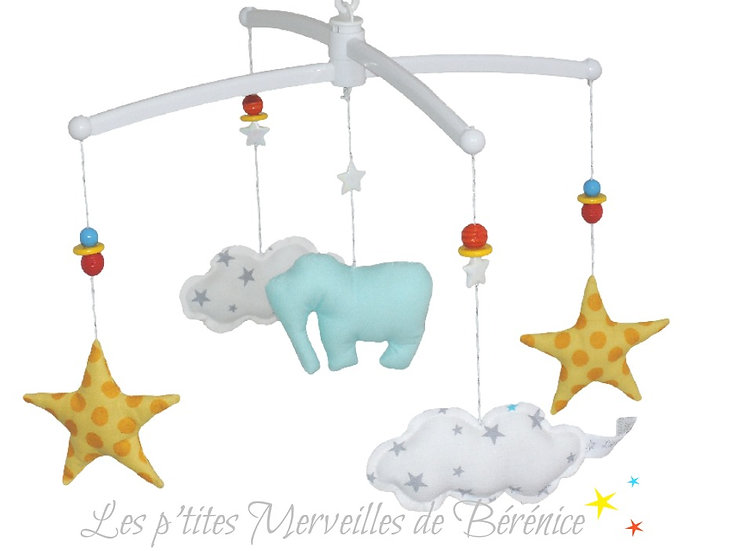 "Mon Joli mobile musical Eléphant, étoiles ""Circus"""
