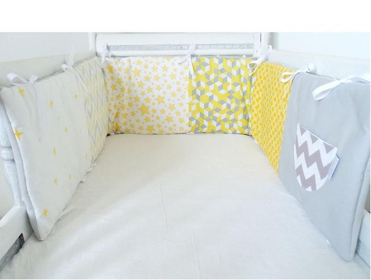 """Tour de lit gris jaune blanc """"motifs géométriques"""" style scandinave_Les p'tites Merveilles de Bérénice"""