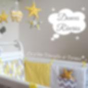 Collection chambe bébé et liste de naissance jaune gris blanc