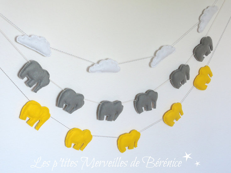 """Guirlande """"nuages"""" ou """"éléphants"""" modèle au choix"""