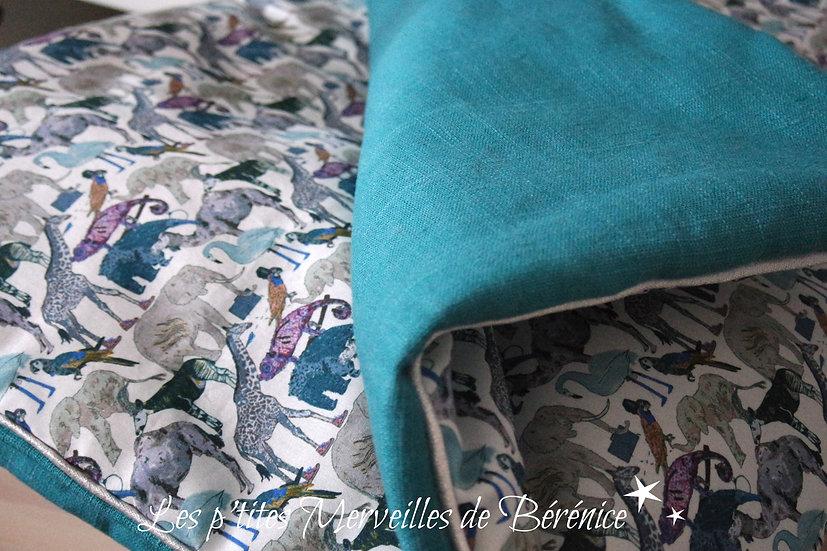 """Couverture bébé Liberty """"Zoo"""" et lin bleu pétrole"""