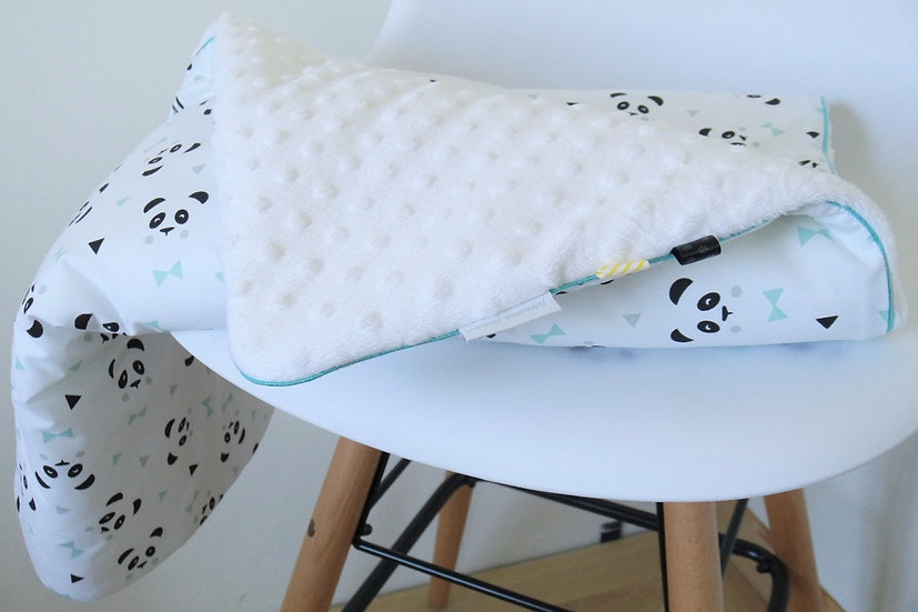 """Couverture """"Mon petit panda"""" blanc, noir, mint et gris"""