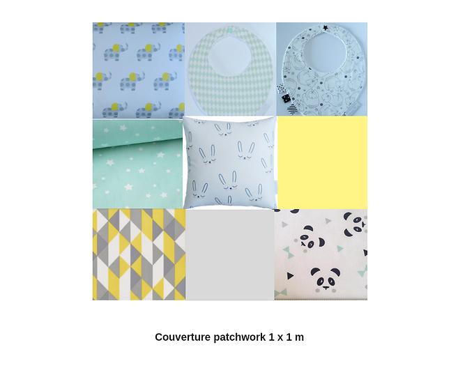 """Couverture """"patchwork"""" blanc, noir, gris, mint, jaune"""