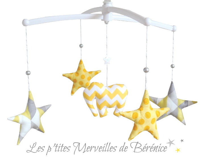 """Mon Joli mobile musical """"Eléphant & étoiles"""""""