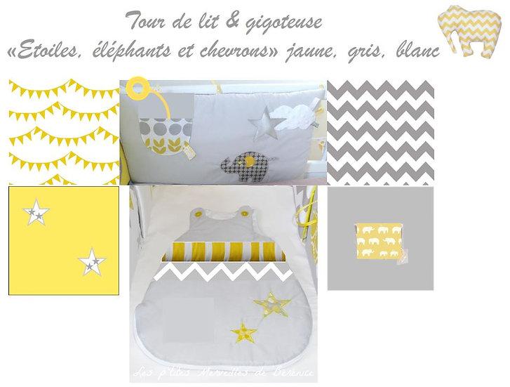 """Tour de lit """"Eléphant"""" jaune, gris blanc"""