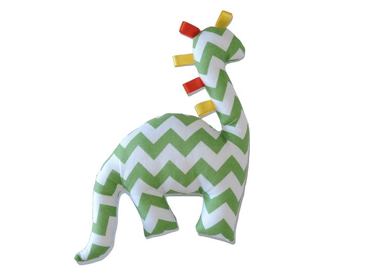 Doudou dinosaure vert et blanc à chevrons & rubans