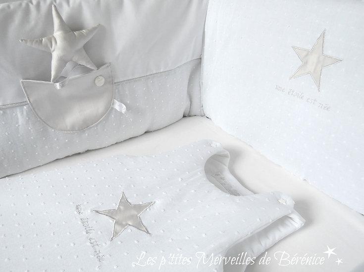 """Tour de lit et gigoteuse """"Etoile"""" grise perle"""