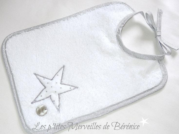 Bavoir bébé étoile pois argent sur fond blanc