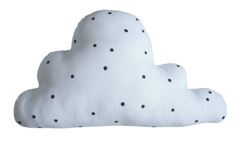 Grand coussin nuage pois noirs fond blanc