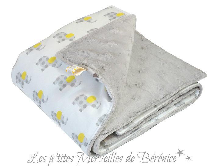 """Couverture bébé """"éléphants"""" gris & jaunes fond blanc, coton bio et velours minky"""