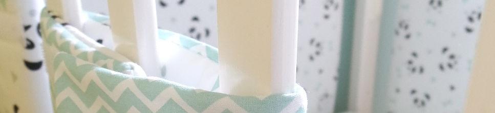 Tour de lit bumpers pandas mint, blanc et gris