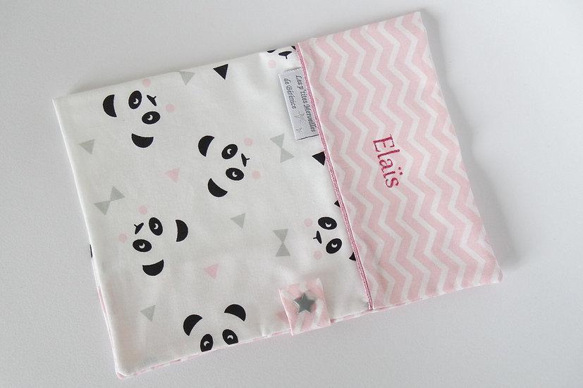 """Protège carnet de santé personnalisé """"Pandas et chevrons"""" blanc, rose, noir"""