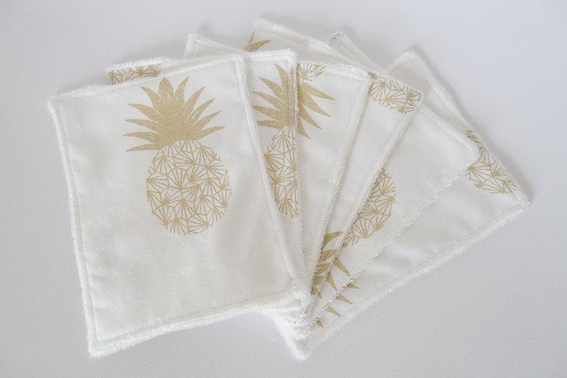 """Lot de 6 lingettes lavables """"ananas"""" or et blanc et coton BIO"""