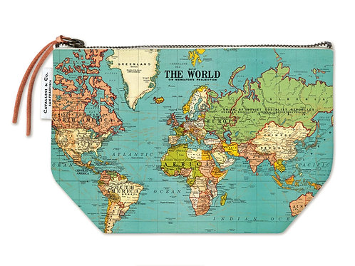 Cavallini Pouch in World Map Design - Large