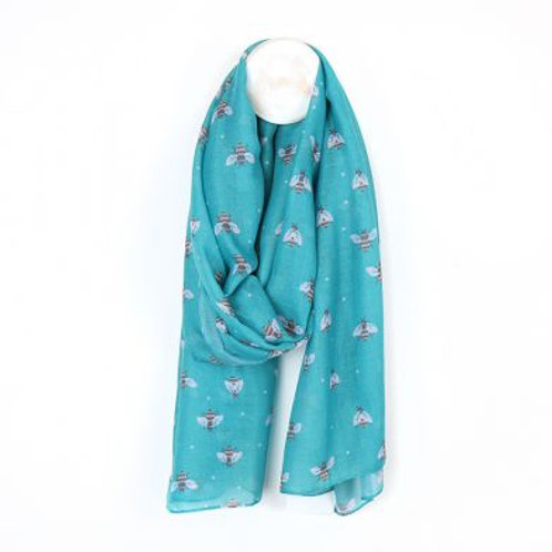 Turquoise Bee Print Scarf - Made from Plastic Bottles