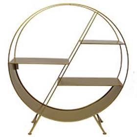 Round Matt Gold Metal Display Unit