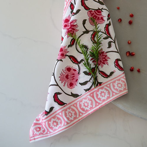 Pink Hand Block Print Napkin