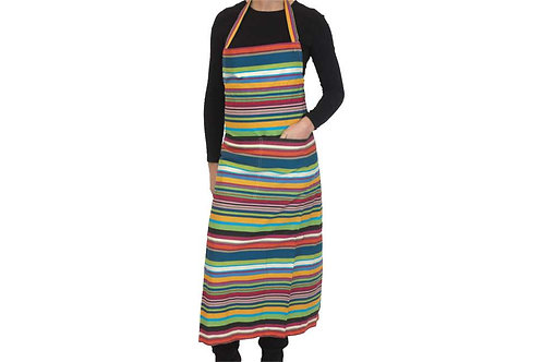 Striped Apron -  Navy, Green, Yellow, Red, Ivory, Black and Pink Mix