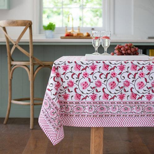 Pink Hand Block Print Tablecloth