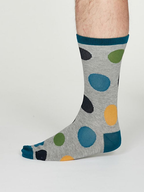 Thought Mens Bamboo Newton Spot Socks in Grey