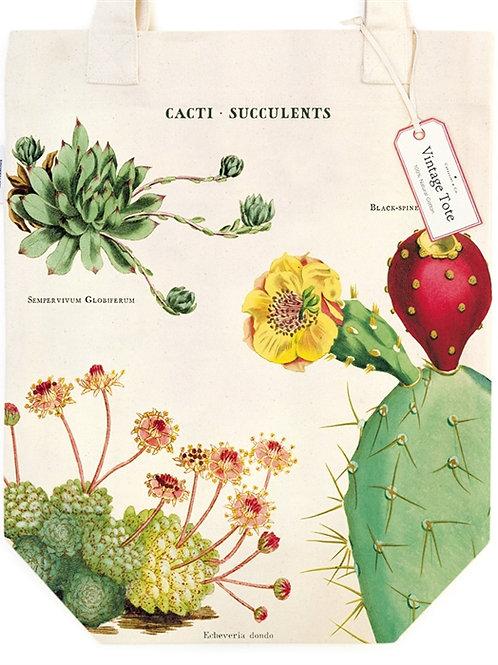 Cavallini Tote Bag in Cacti & Succulents Design