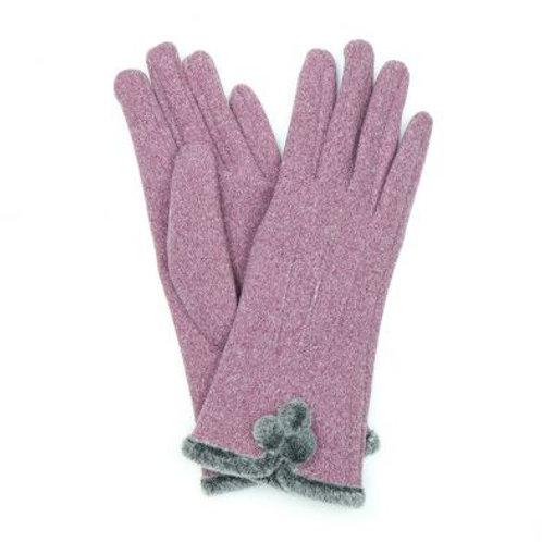 Faux Angora Gloves With Pom Poms