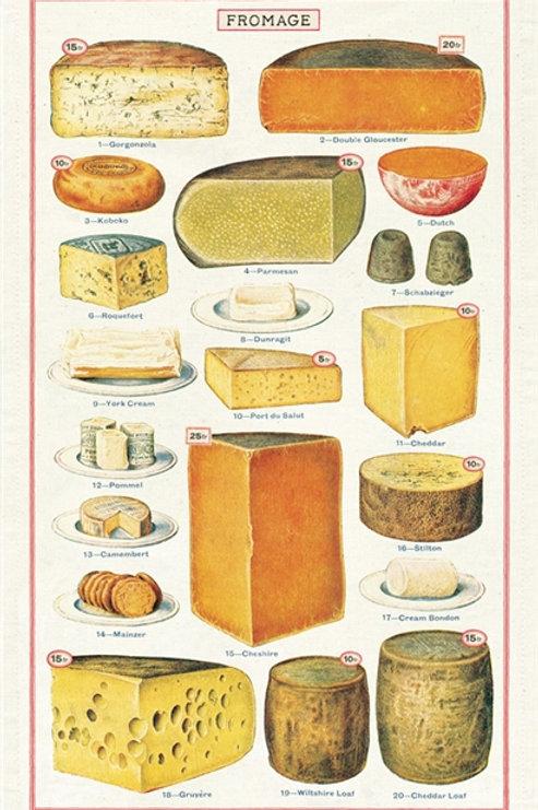 Cavallini Tea Towel in Cheese Design
