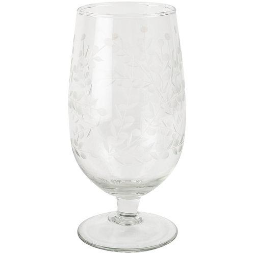 Wine Glass Vintage Flowers