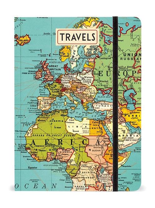 Cavallini Notebook Vintage Map Design - Large