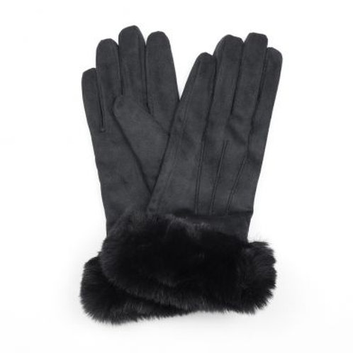 Faux Suede Black Gloves with Fur Trim