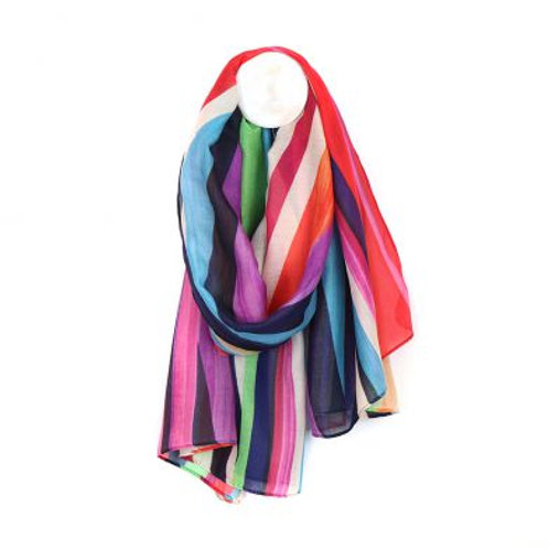 Striped Print Scarf - Made from Plastic Bottles