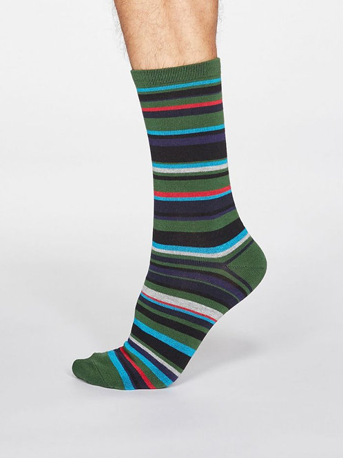 Thought Mens Bamboo Striped Socks in Olive Green