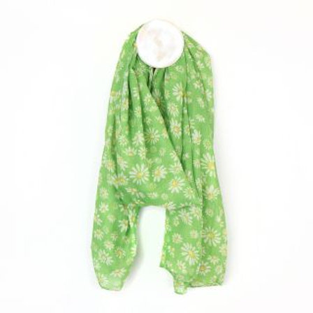 Green Daisy Print Scarf - Made from Plastic Bottles