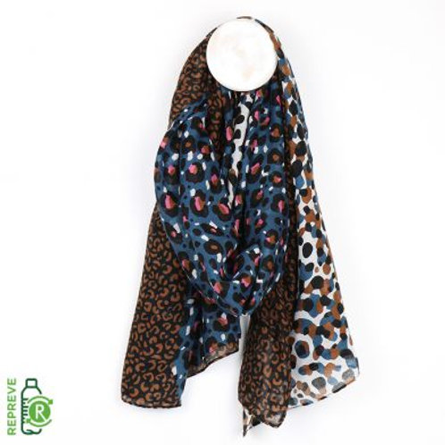 Mixed Leopard Print Scarf - Made from Plastic Bottles