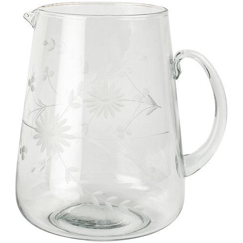 Glass Jug Vintage Flowers