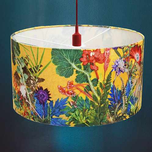 Lampshade in Bright Yellow Floral Design - 45cm