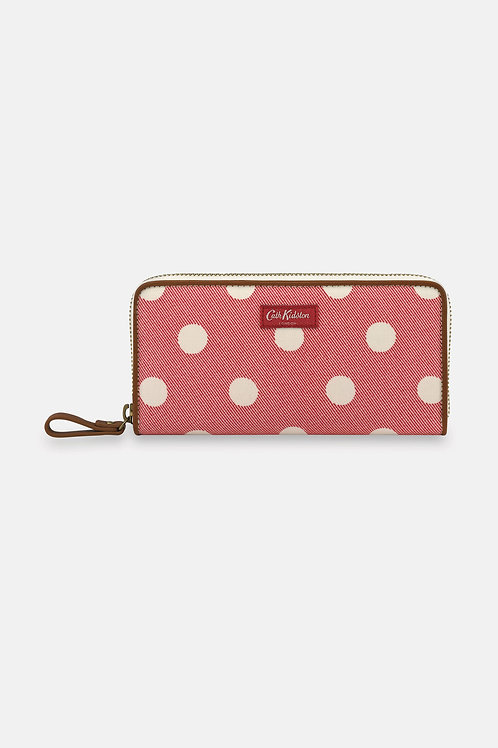Continental Zip Wallet in Red Twill Button Spot