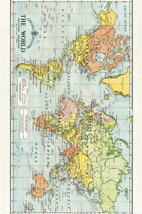 Cavallini Tea Towel in World Map Design
