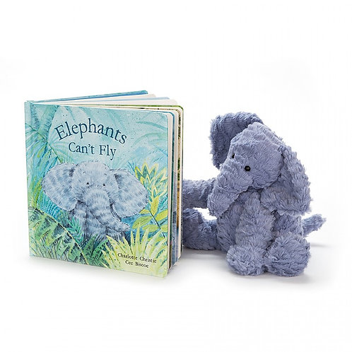 Jellycat Fuddlewuddle Elephant & Elephants Can't Fly Book