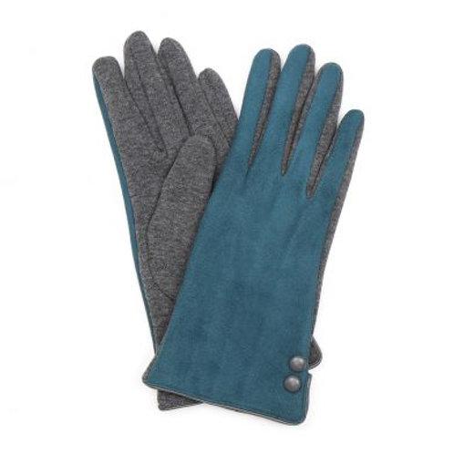 Faux Suede Button Gloves