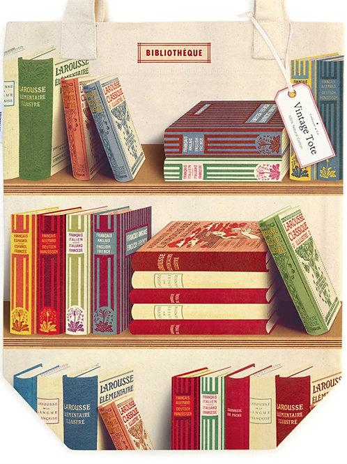 Cavallini Tote Bag in Library Book Design