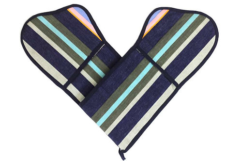 Striped Oven Gloves - navy, pink, red, taupe, grey