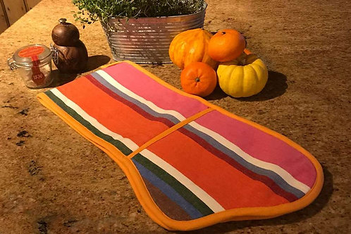 Striped Oven Gloves - Pink, blue, orange, white red mix