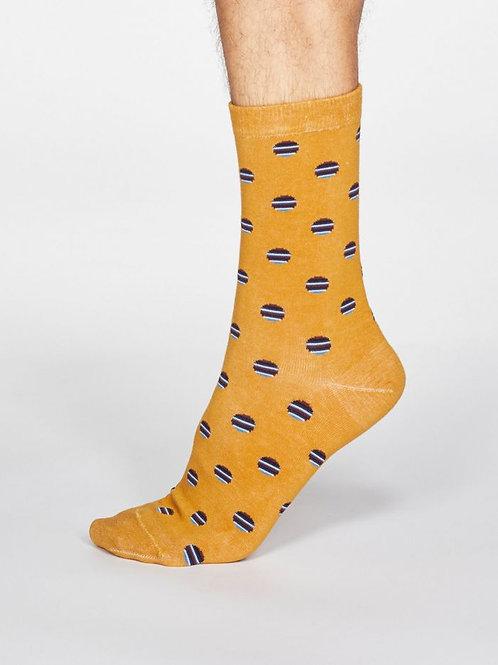 Thought Mens Bamboo Grayson Spot & Stripe Socks in Mustard