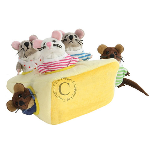 Mouse Family in Cheese Puppet Sey