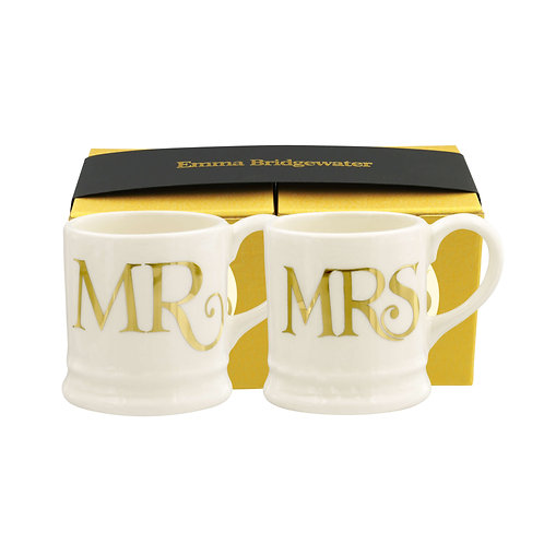 Emma Bridgewater Set of Mr & Mrs Tiny Mugs in Gold Toast