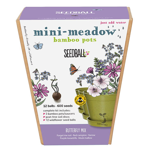 Mini Meadow Bamboo Pots - Butterfly Mix