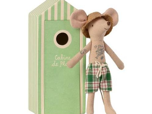 Maileg Beach Mouse - Dad in Cabine de Plage