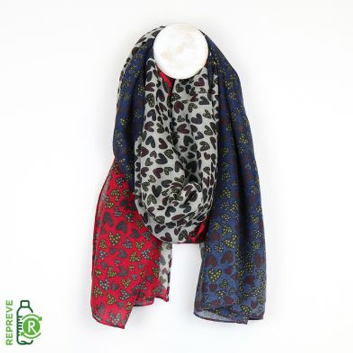 Multi Heart Print Scarf - Made from Plastic Bottles